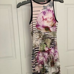 Ted Baker flowers and stripes midi fitted dress